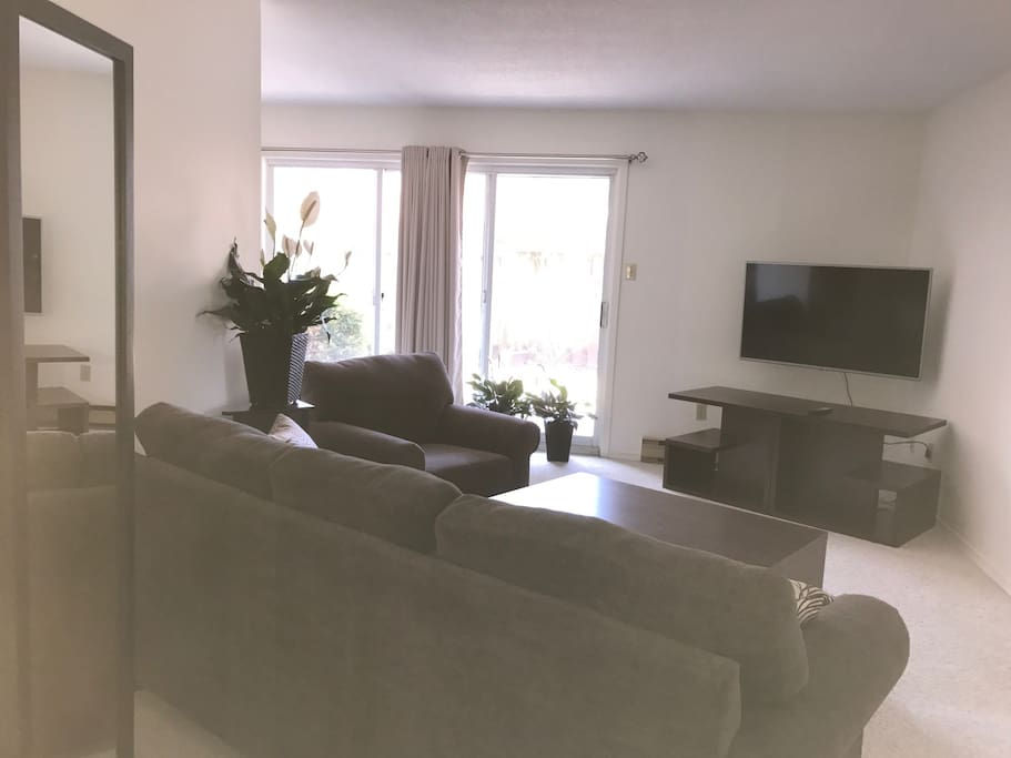 "Living room with 55"" tv with Netflix etc."