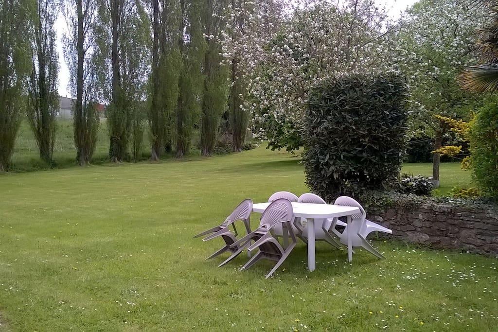 grande pelouse du jardin devant la maison