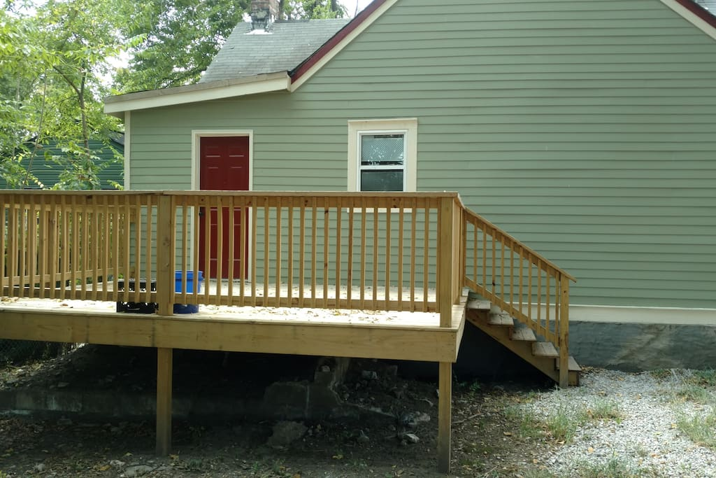Large deck off of kitchen