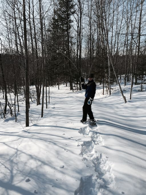 Snowshoeing on the farmroad