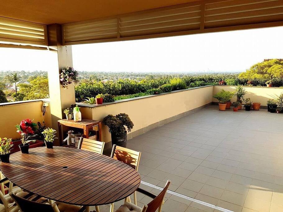 Oversized 90sq metre balcony overlooking the inner west suburbs.