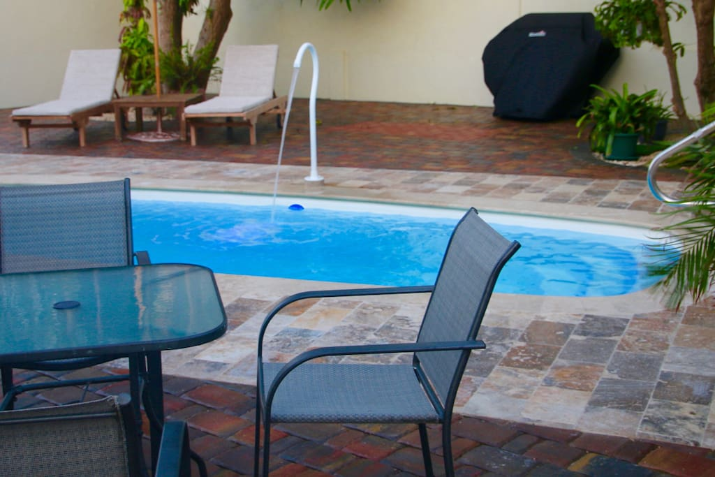 Private Pool with gas barbecue pit