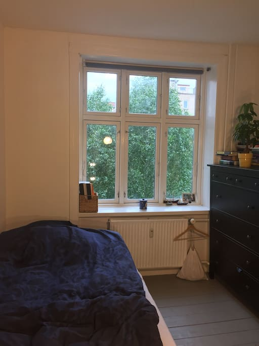 Our bed is located right next to the window - Wake up and open the blinds to green trees and the sun shining!