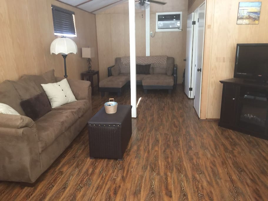 Very open Family Room with Sofa Bed and Futon