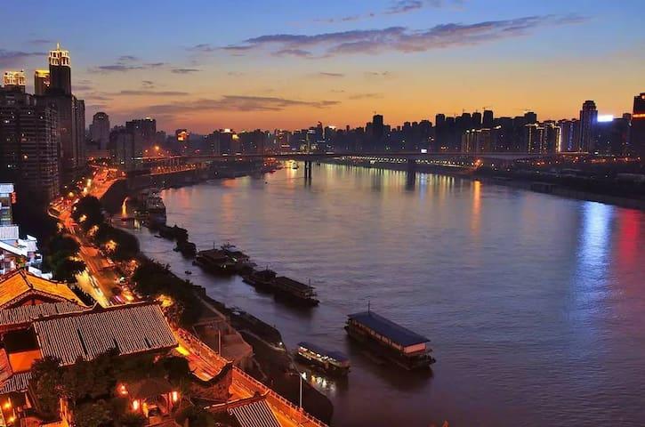 市中心CBD 2分钟到地铁 渝中区时代天街步行街精装两室一厅带地暖 - Chongqing - Appartement