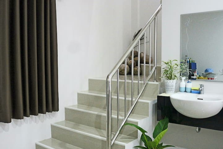 Stairs located near sink