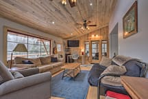 The spacious interior is updated and boasts high-end amenities & wooden accents.