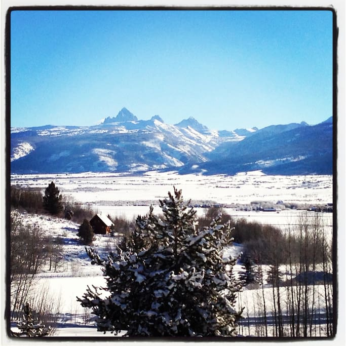 Winter time Teton view from the front  balcony