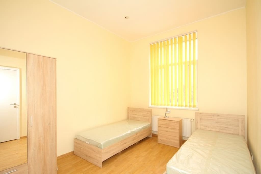 Bedroom, two single beds can be placed together for one double
