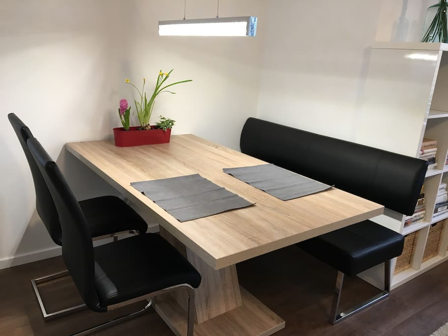 The dining table can also be used for work