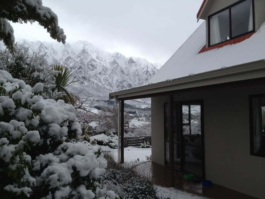 Stunning winter views of The Remarkables from the deck & living & dining room