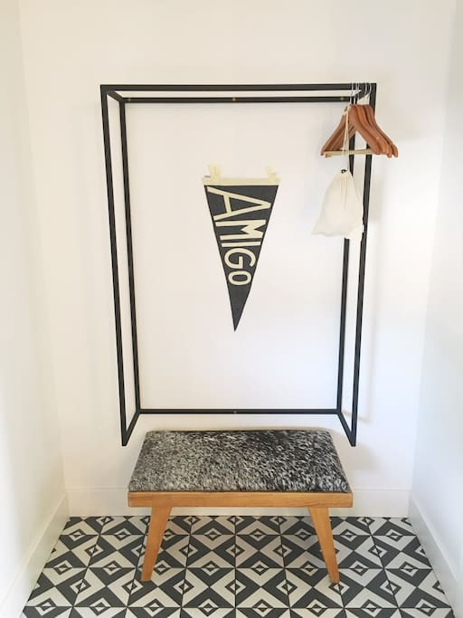 All rooms have a small alcove to hang your clothes, or just toss your bag on the floor if that feels better!