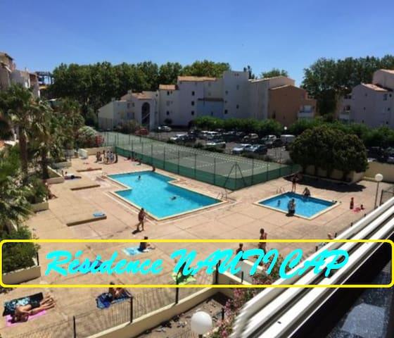 200 M de la plage,T2 Cabine,Piscine+Tennis+Garage