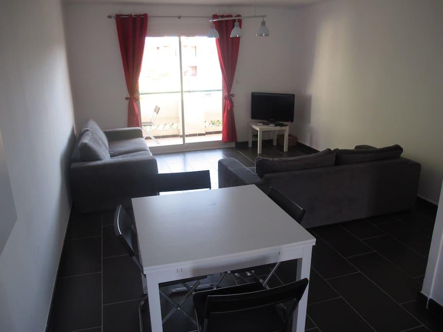 Salon, avec 2 canapés lits double, table 8 chaises, TV avec WIFI