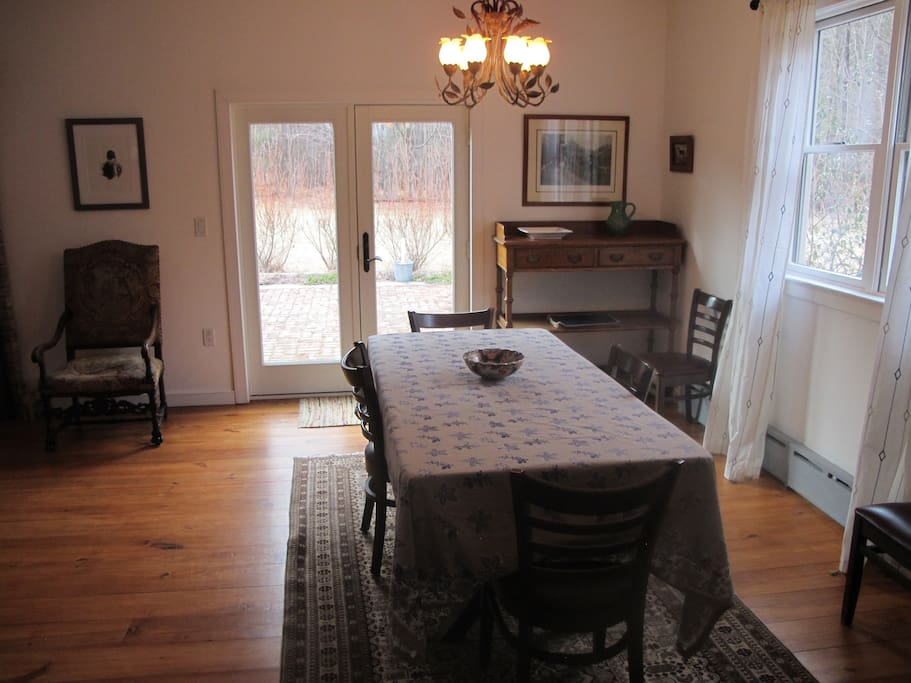 Dining in or al fresco through the french doors leading to the patio