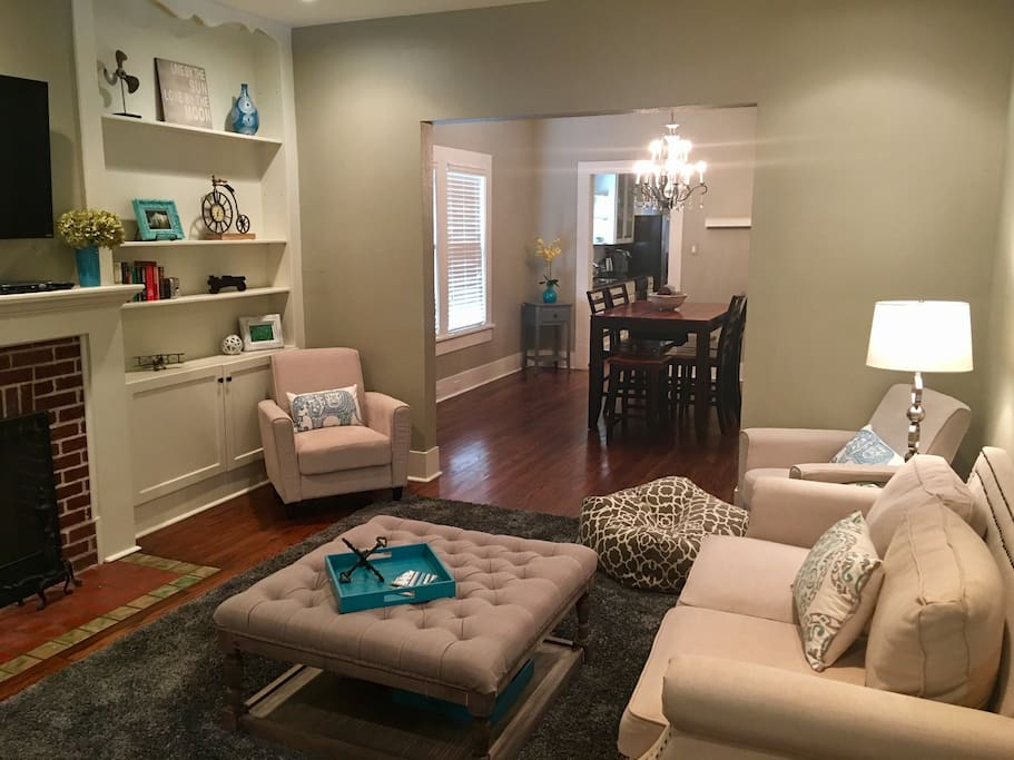 Come relax in our comfortable and beautifully furnished living room and dining room. Dining room table sits 6 people.