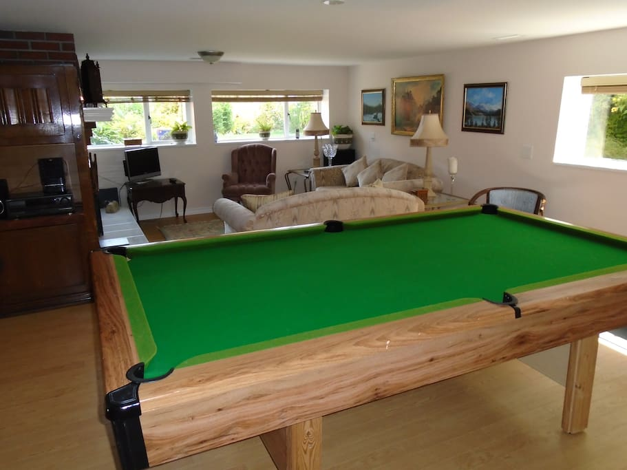 Guest room with pool table