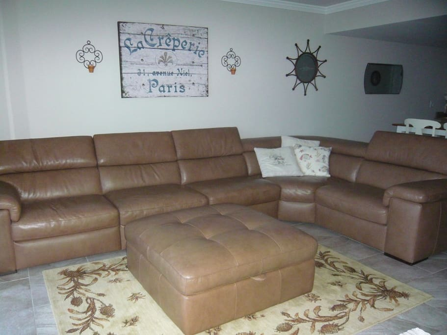 Large high end leather sectional.