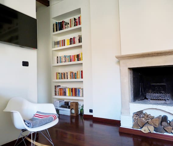 fireplace and smart tv