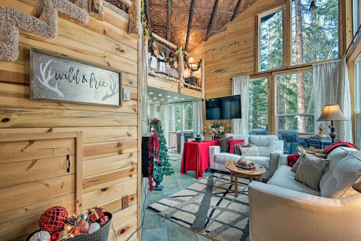 The 1-bedroom cabin is nestled on a half acre of lush woodlands.