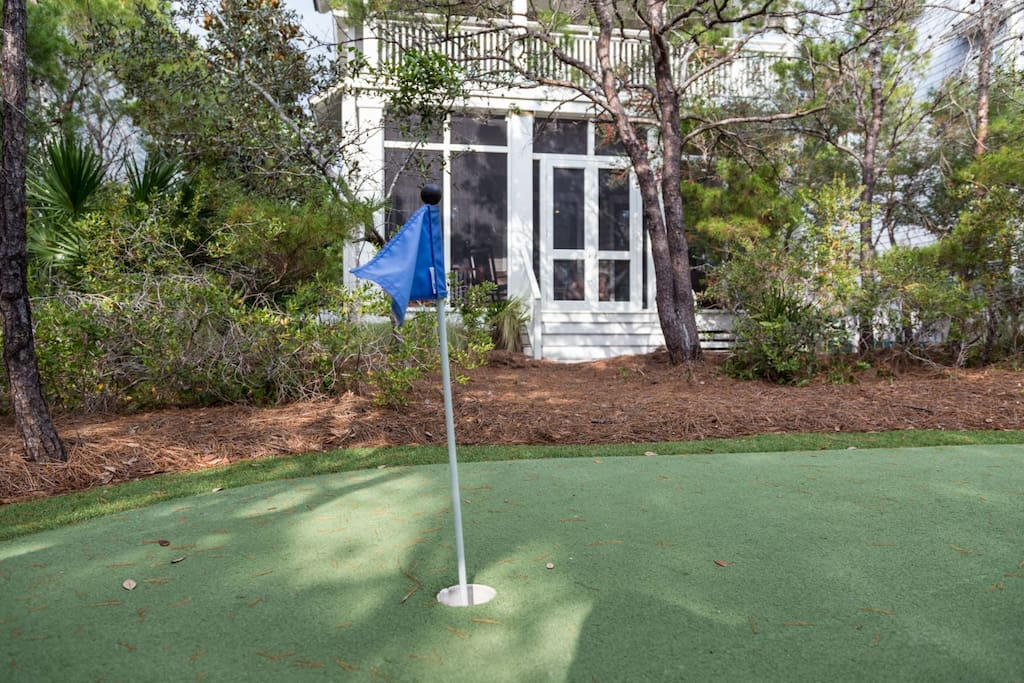 Step out your back door onto the putting green.