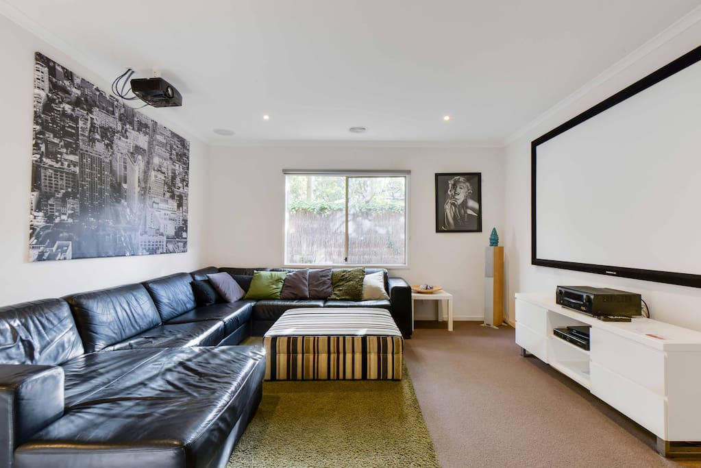 Large home cinema with surround sound, Foxtel movies and sports & dvd's