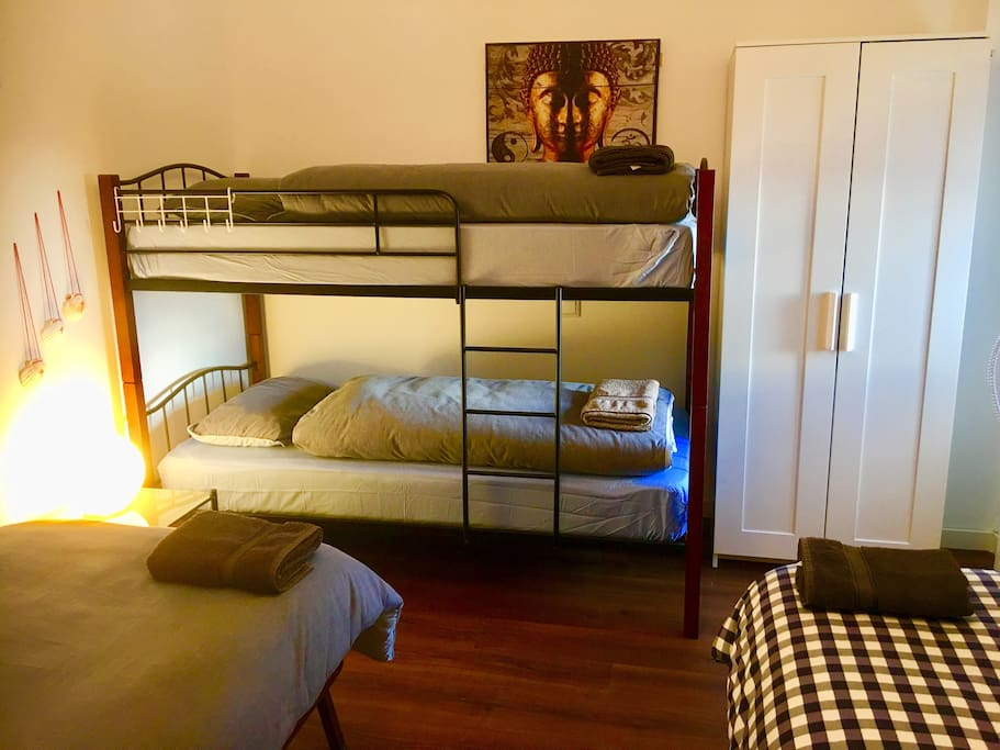 Private Room with 4 Single Beds