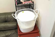 Baskets to use taking clothes to laundry (don't leave it at laundry to avoid lost), shoes box