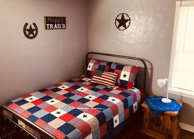 Guest bedroom - double premium pillow-top mattress + blackout drapes