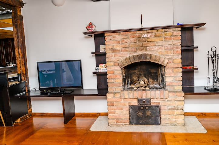 Big fireplace perfect for winter days