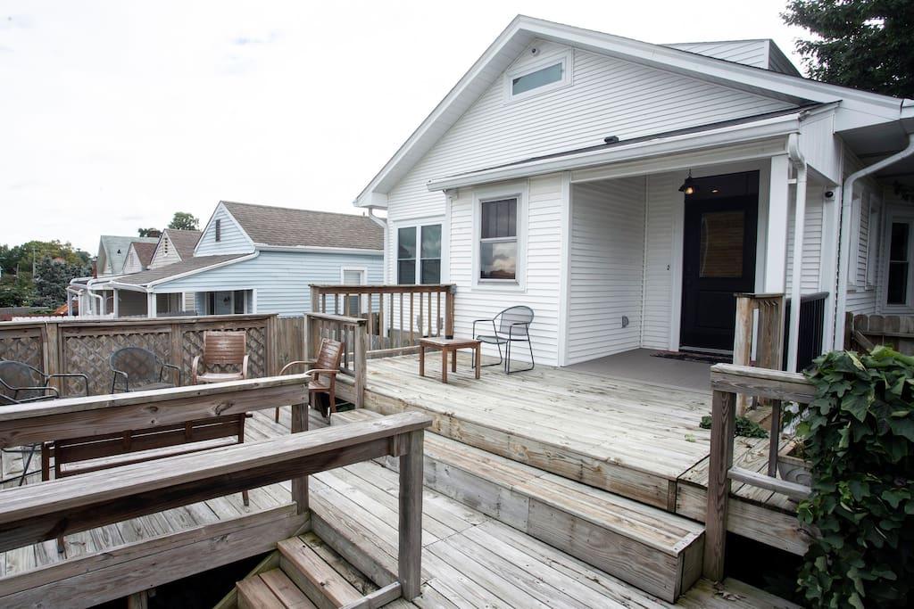 Back deck facing the back door