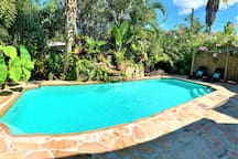 The Oasis.  Complete privacy in a quiet neighborhood just a short walk from the beach.