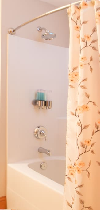 The en suite bathroom has a shower and tub with amenities, which include soaps, shampoo and conditioner, hair dryer, and comfortable robes.