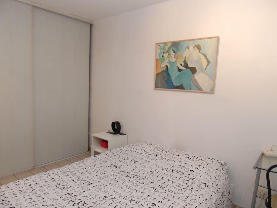 chambre coquette avec lit 140 et placard de rangement