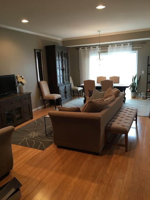 Open concept great room with Kitchen, Dining Room, and Living room (shared)