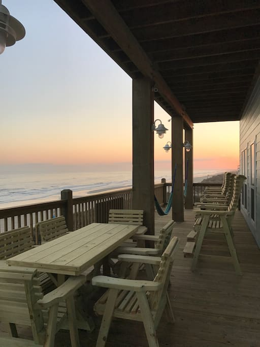 There are two balconies overlooking the ocean, perfect for a sunset.