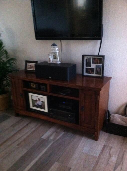 Big TV in living room, and tv in bedroom.