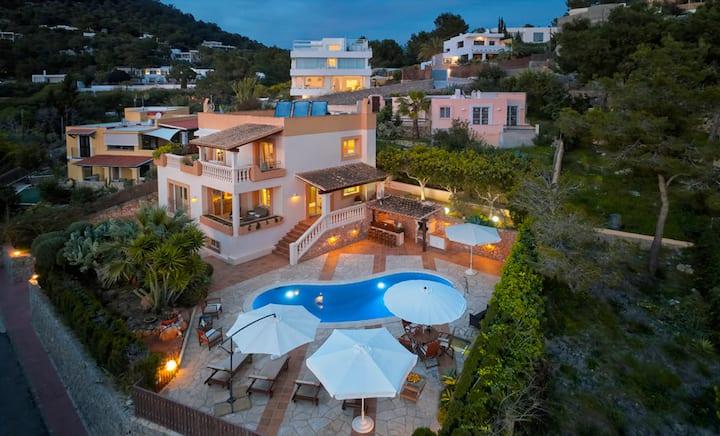 Villa at Ibiza Town with Pool and Sundown Views
