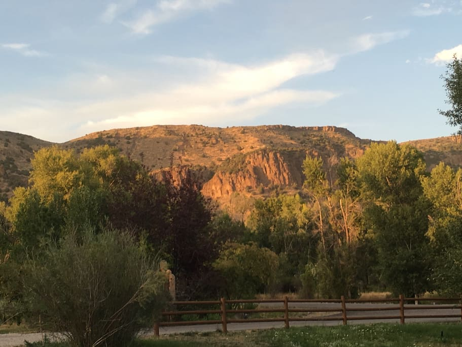 The view of the Heise Canyon Hills from the front porch of The Lodge