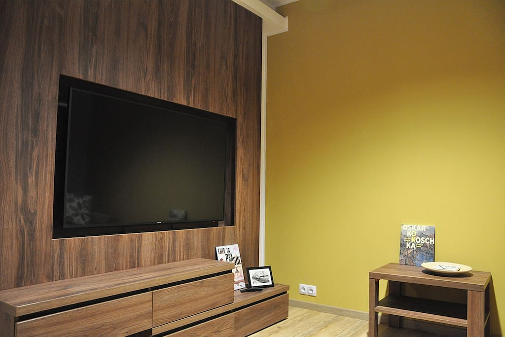 55-inch TV with satellite channels (English, Russian, Italian, German and others) + Smart TV