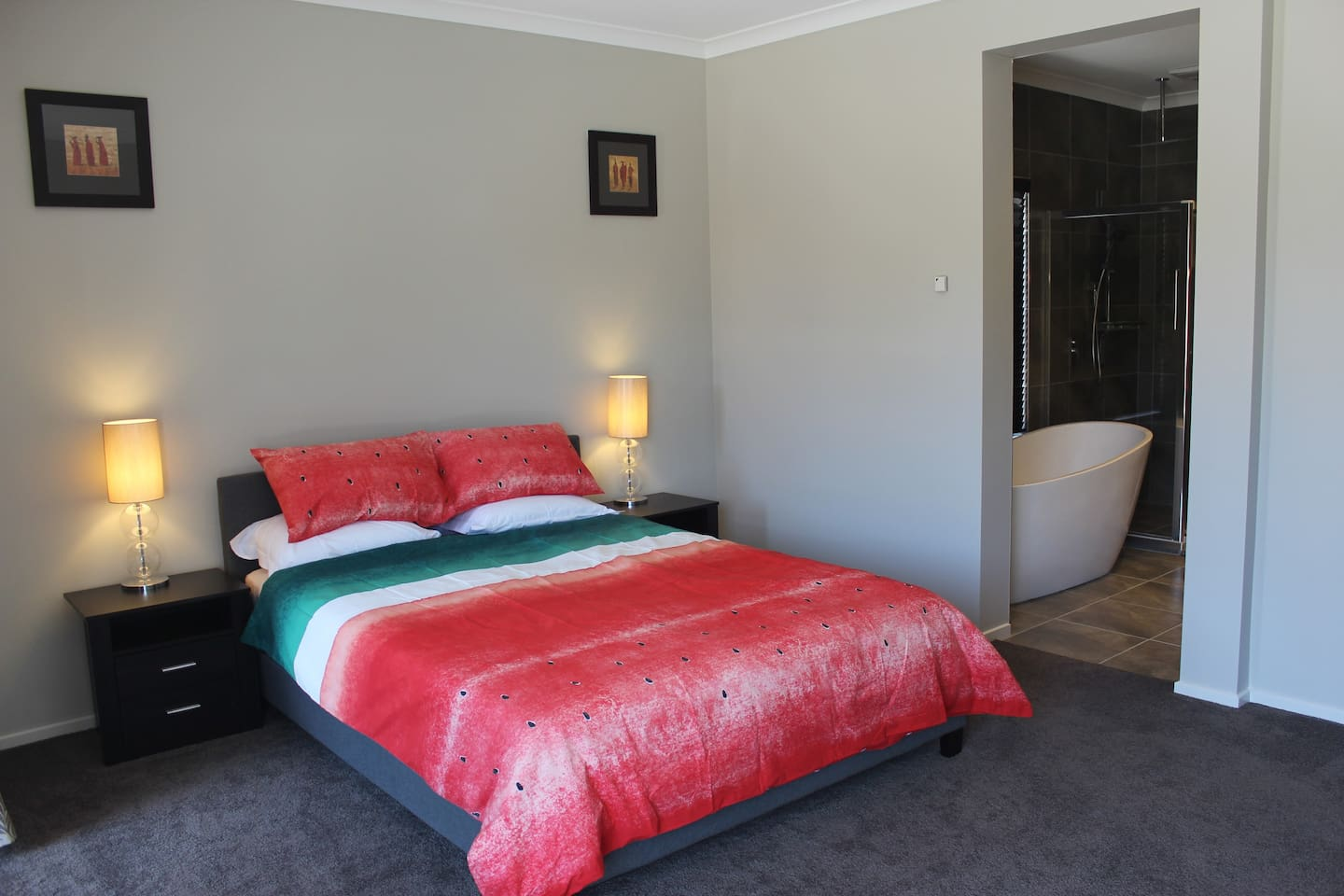 Separate Guest Bedroom with all goodies. Offering comfy queen size bed, bathroom with free standing bath & WIR.