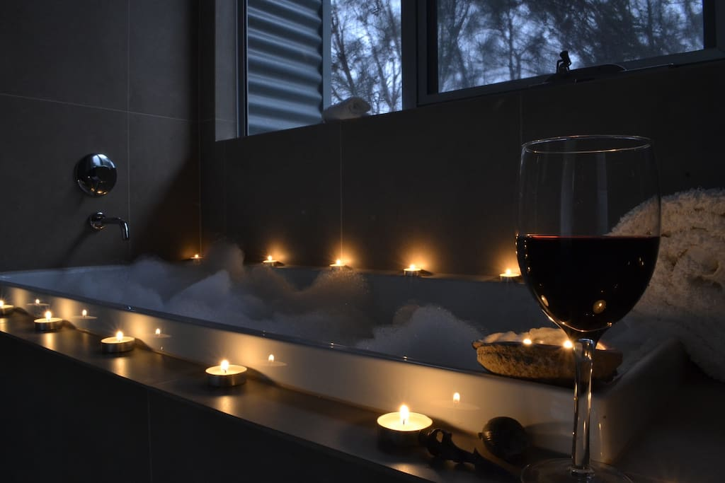 Bubble bath & glass of red