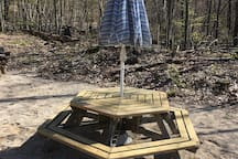 The Commons area picnic table with umbrella for use by our guests.