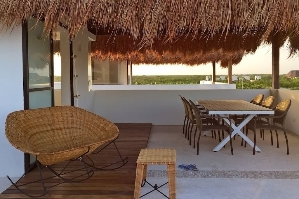 private roof terrace with palapa