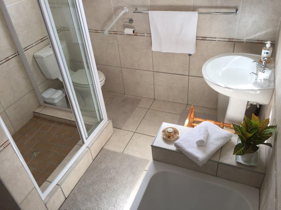 Full bathroom with towels, toilet paper and basic toiletries provided
