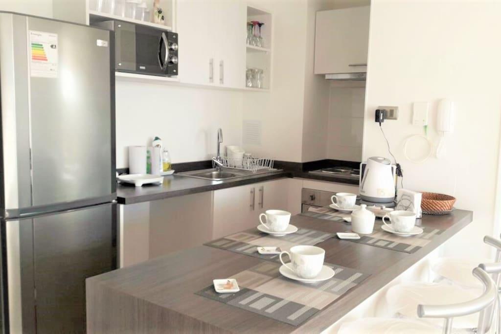 Cocina equipada con horno, encimera y campana eléctricos. Incluye refrigerador grande, sandwichera y horno microondas.