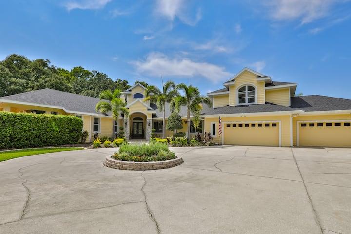Suburban Tampa Mansion on 2 Acres Pool Firepit