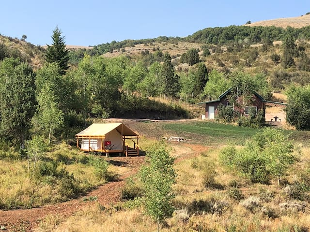Glamping tent near Bear Lake w/bathroom and shower