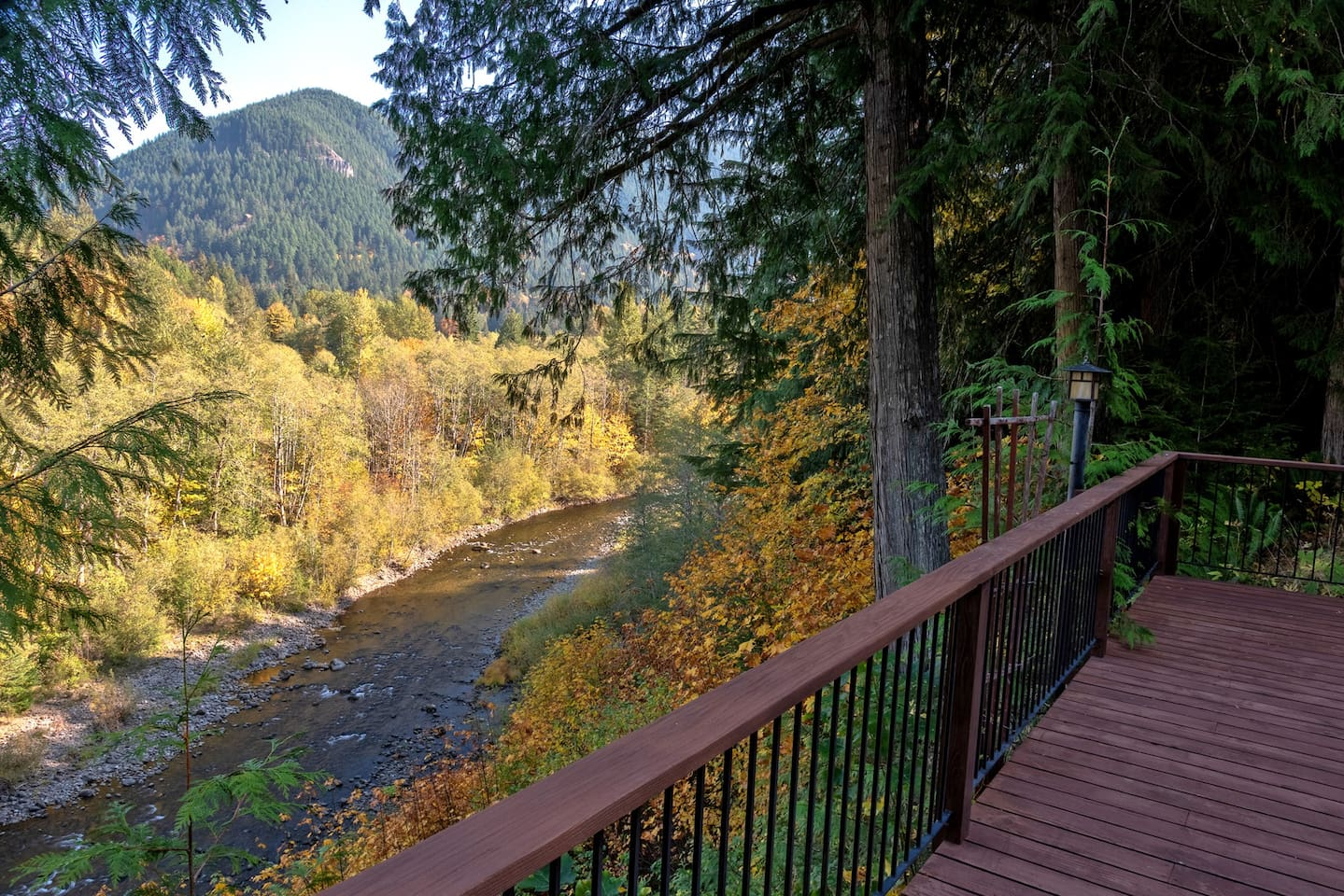 Salmon River view with fall colors at the Crystal Creek Chalet