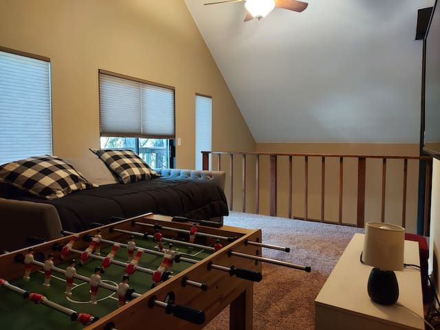 Loft with twin trundle couch.